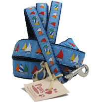 Light Blue Rainbow Fleet Sailing Dog Leashes.