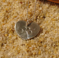 Pure SIlver Pawprint on Heart Charms