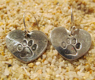 Pure Silver Pawprint on Hearts Earrings made by hand.