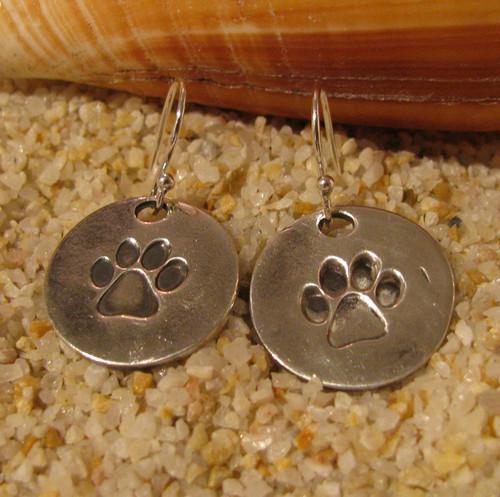 Handmade, Eco-friendly Silver Paw Earrings