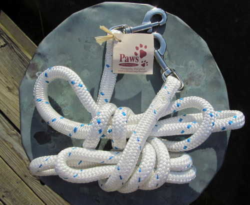 2 Boating Line Leashes Shown in below Photo. Each features sturdy hardware for collar attachment.