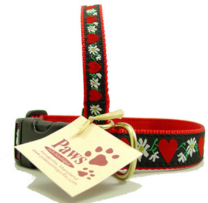 Heart and Flower Dog Collar