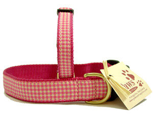 Pink Gingham Dog Collars are proudly made in USA