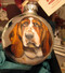 Hand-painted Basset Hound Christmas Ornament