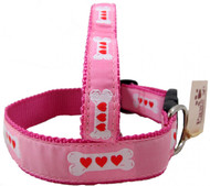 Hearts on Bones Pink Dog Collars are proudly made in America.