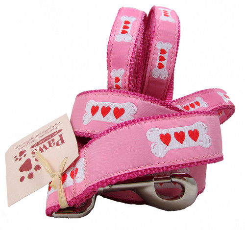 Hearts on Bones Pink Dog Leashes are proudly made in America.
