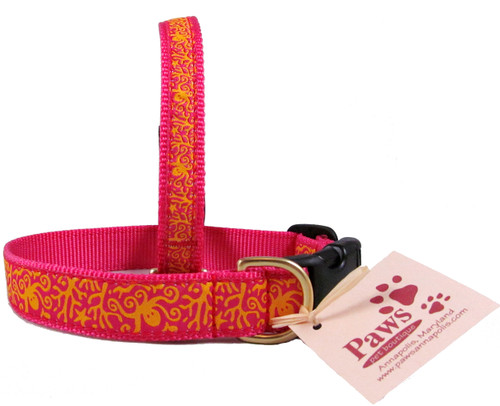 Orange and Pink Octopus Dog Collars made in America.