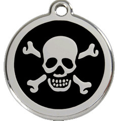 Skull and Cross Bone Collar Tags in Black Enamel on Stainless Steel