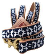 Crisp white lines are set on navy blue for a clean look on these American made dog leashes.