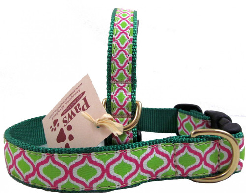 Green and Pink Ribbon Dog Collars made in USA