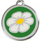 Green Enamel Daisy Engraved Pet Tags in Durable Stainless Steel