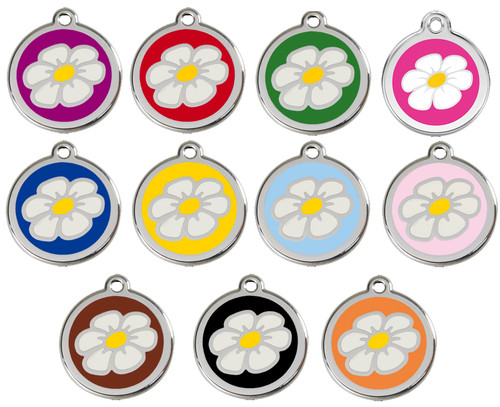 Colorful Enamel Daisy Pet ID Tags Look Stylish with Your Engraved Information