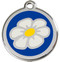 White Daisy Stainless Steel Collar ID Tags with Dark Blue Enamel