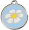 Polished ID Tags with White Daisy on Light Blue