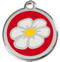White Daisy Collar ID Tags with Red Enamel on Stainless Steel