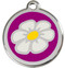 Purple Enamel ID Tags with White Daisies