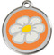 Orange Enamel Daisy Stainless Steel ID Tags
