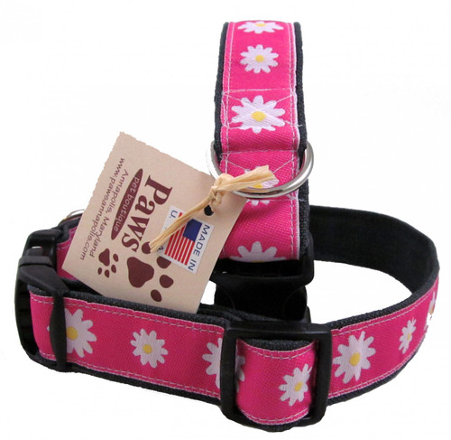 White Daisies Pop on these Pink Ribbon Hemp Dog Collars