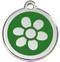 Stainless Steel Daisy Pet Tags in Green