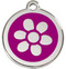 Stainless Steel ID Tags with Daisy on Purple Enamel