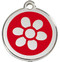 Red Flower Enamel and Stainless Steel Pet ID Tags