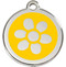 Sunny Yellow Enamel Surrounds the Stainless Steel Flower on our Collar Tags