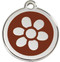 Silver Flower on Chocolate Pet Collar Tags