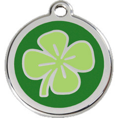 Stainless Steel and Enamel Green Shamrock Pet Collar Tags