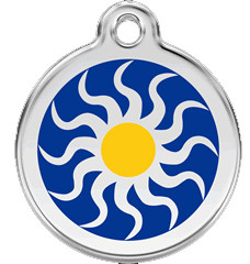 Artistic Sun Pet Collar Tags in Stainless and Enamel