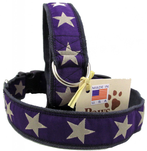 Rich Purple Star Hemp Dog Collars are Made in USA