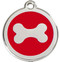 Dog ID tags with a shiny silver bone set in red enamel.