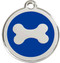 Dark royal blue enamel sets off the bone on these Stainless Steel ID Tags for Dogs