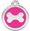Stainless Steel Dog Tags with Hot Pink Enamel and Shiny Dog Bone