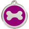 Purple Enamel Backs our Stainless Steel Bone Identification Tags for Dogs