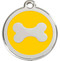 Sunshine Yellow Enamel Brightens these Bone Dog ID Tags