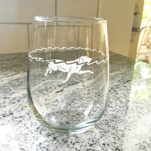 Stemless Swimming Dog Glass