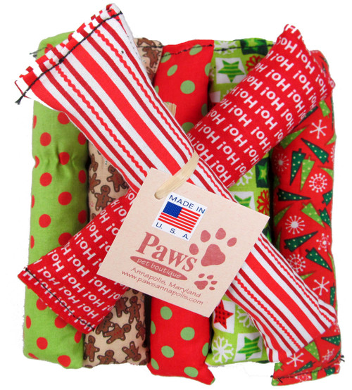 Festive colored cat toys are proudly made in USA.