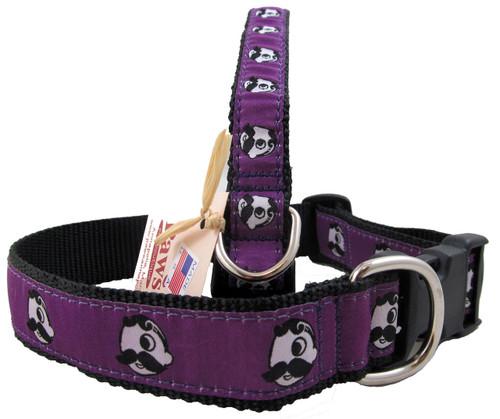 Natty Boh Dog Collars on Purple Ribbon with Black Webbing