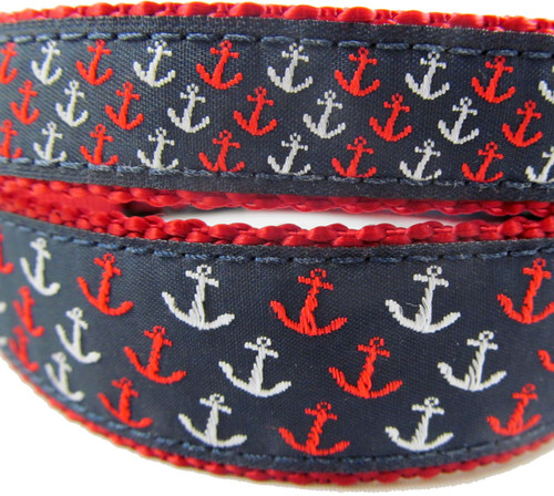 Patriotic colors create these classic nautical dog collars.