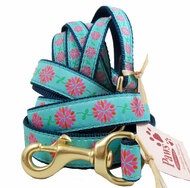 Pink and Orange Petal Flowers Repeat on our USA Made Dog Leashes