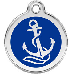Nautical Anchor Pet ID Tags are made with durable stainless and enamel.