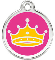 Pink Crown Pet ID Tags Made with Stainless Steel
