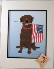 Sitting Chocolate Lab holding Flag Prints are U.S. made