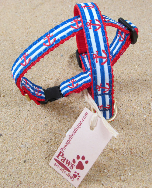 Nautical Cat Collars with anchors features breakaway buckle.