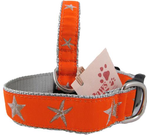 Orange Starfish Dog Collars with Silver Web