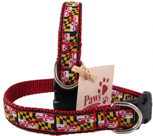"Small Maryland Flag Dog Collars in 3/4"" Width"
