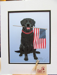 Flag-holding Black Lab Prints are Ready to Frame!