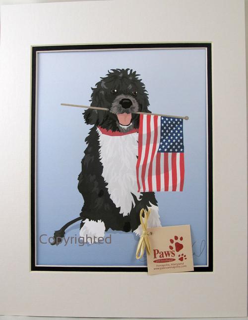Patriotic Portuguese Water Dog Print