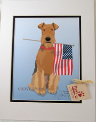 U.S. Flag-Holding Airedale Terrier Prints made in USA!