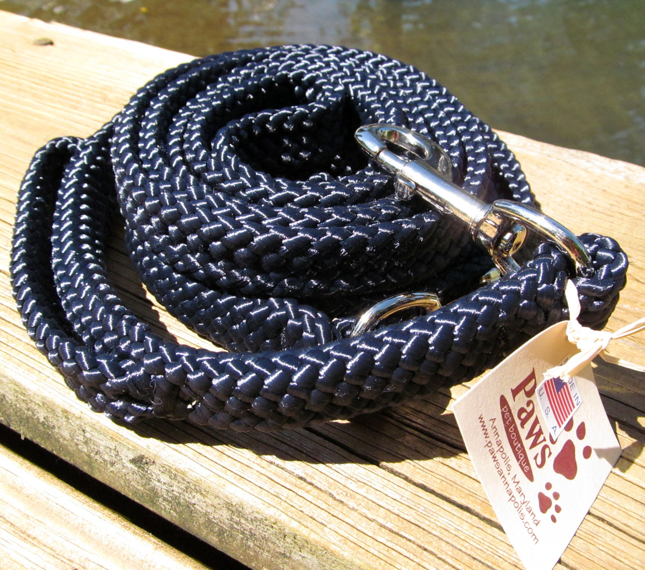 Navy Boating Line Dog Leashes with Traffic Handle